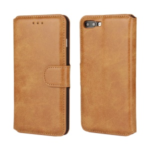 For iPhone 7 Plus Frosted PU Leather Wallet Stand Protector Shell - Brown