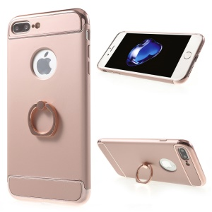 For iPhone 7 Plus Plated Hard Phone Cover with Kickstand - Rose Gold