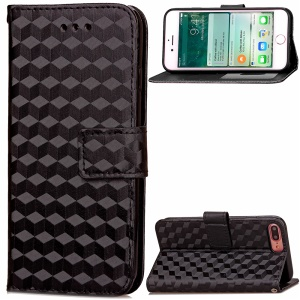 3D Effect Leather Stand Case with Card Slots for iPhone 7 Plus 5.5 inch - Black