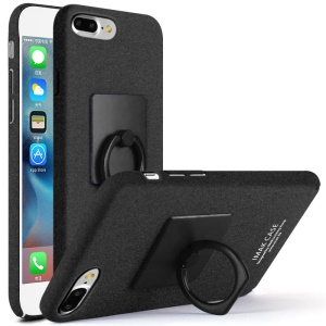 IMAK Finger Ring Kickstand Matte PC Hard Cover for iPhone 8 Plus / 7 Plus 5.5 inch - Black