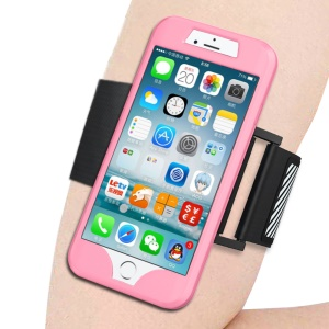 Silicone Case Sports Armband for iPhone 8/7 4.7 with Light Reflection Stripe - Pink