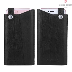 PIERRE CARDIN Genuine Leather Pouch Case for iPhone 7 Plus 5.5 Inch - Black