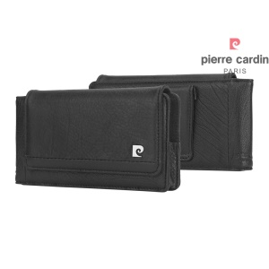 PIERRE CARDIN Genuine Leather Case Horizontal Pouch for iPhone 7 Plus/Samsung Note7 Etc - Black
