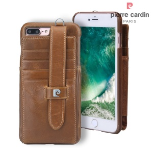 PIERRE CARDIN Genuine Leather Hard Back Case Card Holder for iPhone 8 Plus / 7 Plus 5.5 - Brown