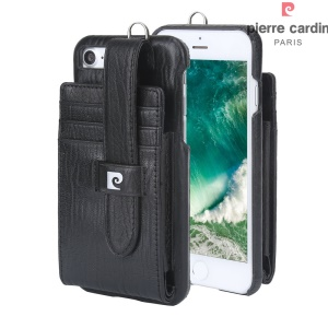PIERRE CARDIN Credit/SIM Card Slots Genuine Leather Coated Hard Case for iPhone 8 4.7 inch / 7 4.7 inch - Black