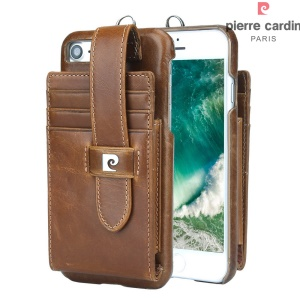 PIERRE CARDIN Genuine Leather Coated Hard Cover Card Holder for iPhone 8 4.7 inch / 7 4.7 inch - Brown