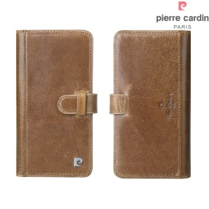 PIERRE CARDIN Genuine Leather Flip Cover with 10 Card Slots for iPhone 7 Plus - Brown