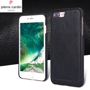 PIERRE CARDIN Genuine Leather Coated PC Back Case for iPhone 8 Plus / 7 Plus - Black