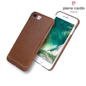 PIERRE CARDIN Genuine Leather Coated PC Shell for iPhone 8 Plus / 7 Plus 5.5 - Brown