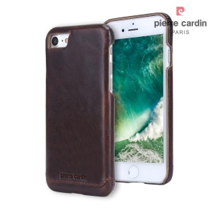 PIERRE CARDIN Stitched Genuine Leather Back Case for iPhone SE 2nd Gen (2020)/8/7 4.7 inch - Coffee