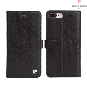 PIERRE CARDIN Funda de cuero genuino para iPhone 7 Plus PCL-P05 - Negro