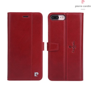 PIERRE CARDIN for iPhone 7 Plus Genuine Leather Wallet Stand Cover PCL-P05 - Wine Red