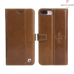 PIERRE CARDIN for iPhone 7 Plus Genuine Leather Wallet Stand Shell PCL-P05 - Brown