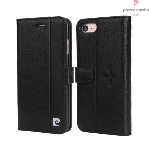 PIERRE CARDIN Genuine Leather Case with Stand Card Holder for iPhone 7 (PCL-705) - Black