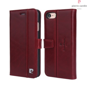 PIERRE CARDIN Flip Case Genuine Leather Card Holder for iPhone 7 (PCL-705) - Wine Red