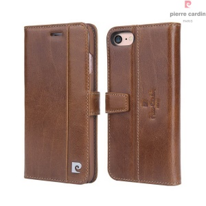 PIERRE CARDIN Genuine Leather Flip Case Card Holder for iPhone 7 (PCL-705) - Brown