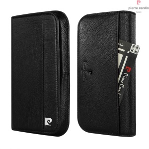 PIERRE CARDIN Genuine Leather Case Wallet for iPhone 7/6s/6 Etc - Black