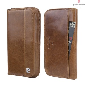 PIERRE CARDIN Genuine Leather Universal Case for iPhone 7/6s/6 Etc - Brown