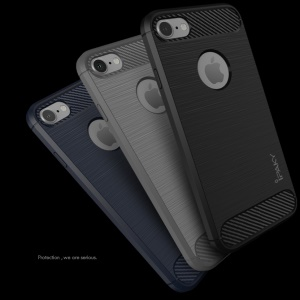 IPAKY Brushed TPU Drop-proof Case for iPhone 7 with Carbon Fiber Decorated - Black