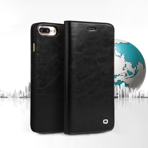 QIALINO Genuine Cowhide Leather Cover for iPhone 7 Plus 5.5 inch - Black