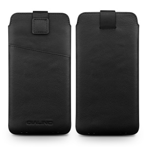 QIALINO Genuine Leather Sleeve Pouch for iPhone 8 Plus / 7 Plus, Size: 160 x 83mm - Black