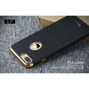 IPAKY Cross Texture Leather Coated Plating TPU Case for iPhone 7 Plus 5.5 - Black