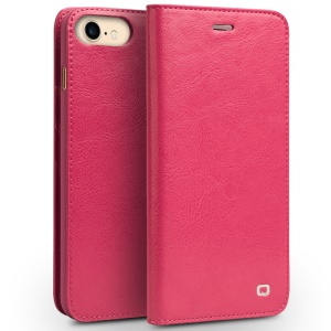 QIALINO Genuine Leather Wallet Crazy Horse Grain Cover for iPhone 8 / 7 4.7 inch - Rose