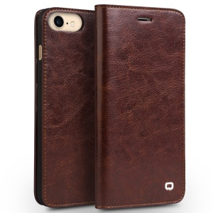 QIALINO Genuine Leather Wallet Crazy Horse Grain Case for iPhone 7 4.7 inch - Brown