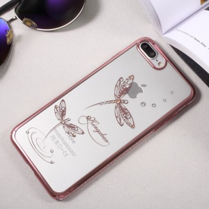 KINGXBAR Diamond PC Cover for iPhone 8 Plus / 7 Plus 5.5 (Rose Gold Edge) - Jade Dragonflies