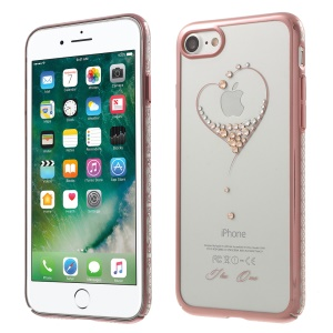 KINGXBAR Crystal Plating PC Shell for iPhone SE 2 (2020)/8/7 (Rose Gold Edge) - The Wish of the Stars