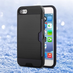 Brushed PC + TPU Hybrid Case with Card Slot for iPhone 8/7 - Black