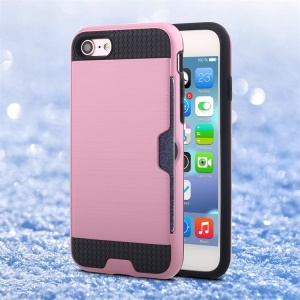 Brushed PC + TPU Hybrid Phone Case with Card Slot for iPhone 8/7 - Pink