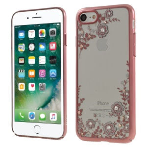 Etui pour iPhone KAARO Flowers Swarovski Rose Gold Case pour iPhone 8/7 - blanc