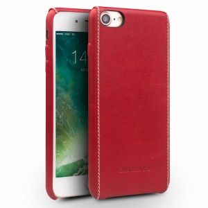 QIALINO Genuine Leather Skin Hard Shell for iPhone 8 / 7 4.7 - Red Plain Texture