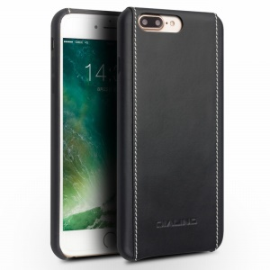 QIALINO Genuine Leather Coated Hard Cover for iPhone 8 Plus / 7 Plus - Black Plain Texture