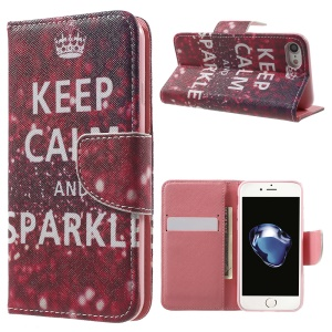 Pattern Printing Leather Wallet Case for iPhone 7 4.7 inch - Keep Calm and Sparkle