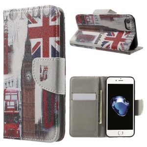 Pattern Printing Leather Wallet Flip Cover for iPhone 8 / 7 4.7 inch - Union Jack and London Big Ben