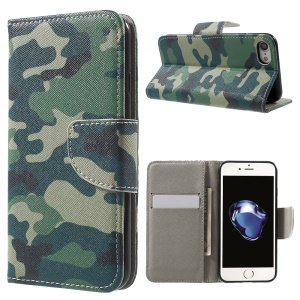 Pattern Printing Leather Wallet Magnetic Case for iPhone 7 4.7 inch - Camouflage Pattern