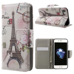 Pattern Printing Leather Wallet Flip Shell for iPhone 7 4.7 inch - Eiffel Tower