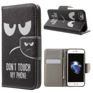 Pattern Printing Leather Wallet Folio Cover for iPhone 7 4.7 inch - Do Not Touch My Phone