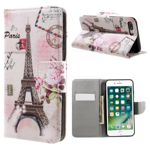 For iPhone 8 Plus / 7 Plus Patterned Leather Card Holder Case - Postcard Style Eiffel Tower