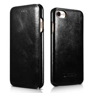 ICARER Curved Edge Vintage Series Genuine Leather Case for iPhone 7 4.7 inch - Black