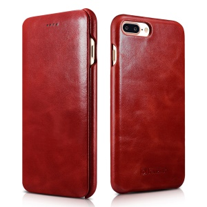Housse en cuir véritable ICARER Curved Edge Vintage Series pour iPhone 7 Plus 5.5 inch - rouge