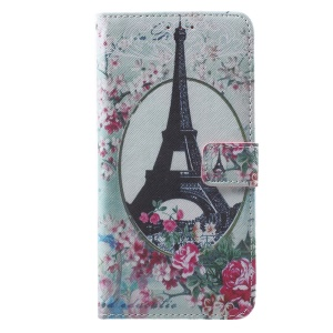 Callfree Wallet Stand Leather Cover for iPhone 7 Plus - Eiffel Tower and Flowers