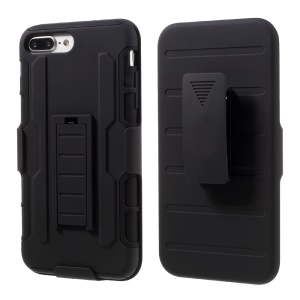 Belt Clip Kickstand PC TPU Hybrid Holster Case Cover for iPhone 8 Plus / 7 Plus 5.5 inch - Black