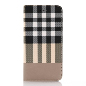 Stylish Plaid Auto-absorption Leather Stand Case for iPhone 7 Plus 5.5 inch - White
