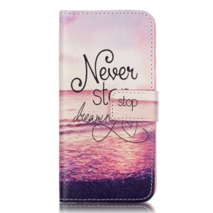 Folio Wallet Cross Texture Leather Case for iPhone 8 / 7 4.7 inch - Pinky Beach