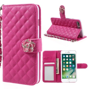 Rhombus Camellia Leather Stand Case for iPhone 7 Plus 5.5 inch - Rose