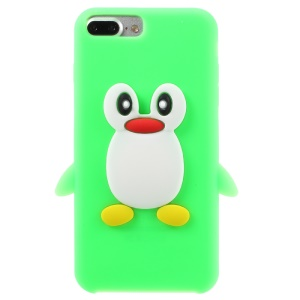 3D Penguin Silicone Protector Cover for iPhone 8 Plus/7 Plus - Green