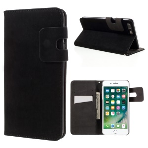 Squirrel Texture Leather Wallet Case for iPhone 7 Plus - Black